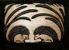 Hedgehog woodblock carving from RyeStraw on Etsy