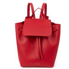Mansur Gavriel Flamma Red Mini Backpack ($895) ❤ liked on Polyvore featuring bags, backpacks, drawstring bag, mansur gavriel, leather knapsack, miniature backpack and day pack backpack