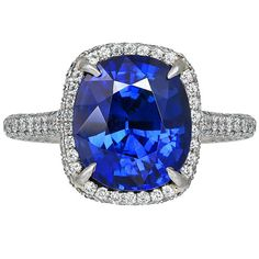 6.24 Carat Cushion Cut Sapphire & Diamond Ring | From a unique collection of vintage fashion rings at https://www.1stdibs.com/jewelry/rings/fashion-rings/