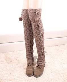 OVER KNEE LACE LEG WARMERS CHUNKY KNITTED WITH WOOL BALLS