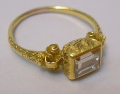 17th c. gold ring with table cut diamond | Jewelry- Vintage