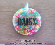 Large Fruit & Sprinkles Dog Tag - Night Glow in Dark - Personalized Custom Handmade Dog Pet ID - Resin - Colorful Glitter Collar Accessory