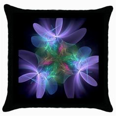 Ethereal+Flowers+Throw+Pillow+Cases+(Black)+Throw+Pillow+Case+(Black)