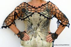 Goth Grunge Accessory One Size Gothic Clothing Halloween Spider Web Transformer with Mittens