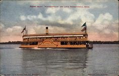 """Divided Back Postcard Ferry Boat """"Minneapolis"""" Lake Minnetonka, MN Minnetonka Minnesota, Ferry Boat, Minneapolis Minnesota, Twin Cities, Places Ive Been, Past, Memories, Spaces, Children"""