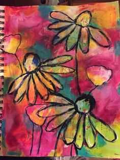 by Betsy Walcheski. Art journal play. Sprays, acrylic paints