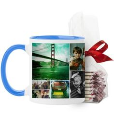 Collage Squares Mug, Light Blue, with Ghirardelli Peppermint Bark, 11 oz, White