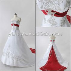 2013 New designer real sample red and white plus size wedding gowns