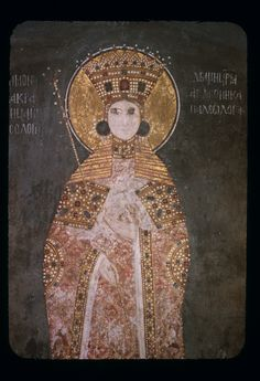 Gračanica, Queen Simonida daughter of Emperor Andronicus II Palaiologus (r. fourth wife of King Stefan Uroš II Milutin (r. (Kraljica Simonida daughter of Emperor Andronicus II Palaiologus (r. fourth wife of King Stefan Uroš II Milutin (r. Religious Images, Religious Art, Fresco, Minoan Art, Byzantine Art, Orthodox Icons, Serbian, Ancient Artifacts, Sacred Art