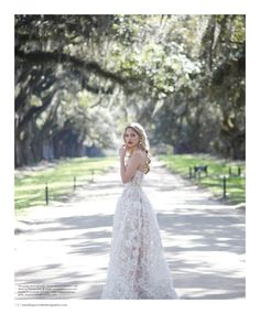Dress by Reem Acra, featured in the Spring/Summer 2016 issue of Weddings Unveiled. Vintage earrings from House of Lavande. Photographed at Boone Hall Plantation & Gardens in Mount Pleasant, SC.