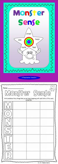 This monster themed freebie reinforces your students' awareness of the Five Senses.