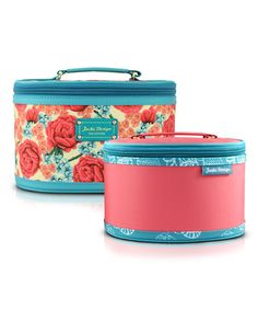 Look what I found on #zulily! Blue Floral Miss Cherie Train Case Set #zulilyfinds