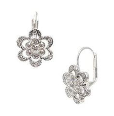 Product: Betsey Johnson® Silvertone Mini Pave Flower Drop Earrings - Carson's $30 for flower girl