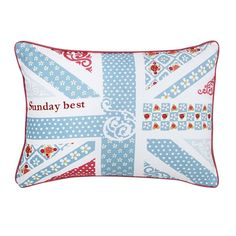 This Julie Dudsworth Sunday Best Cushion displays the classic Union Jack design adorned with pretty patterns in soft shades of blue & pink. Available today at Palmers. Blue Sunday, Furniture Dining Table, Linen Bedding, Bed Linen, Pretty Patterns, Luxury Furniture, Shades Of Blue, Cotton Canvas, Cushions