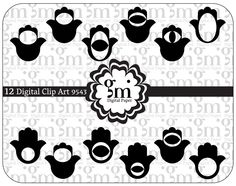 Hamsa, Hamsa Clip Art, Hamsa  Clipart, Hamsa Digital Paper, Hamsa Digital, Instant Download, Black Hamsa, Hand of Fatima - pinned by pin4etsy.com