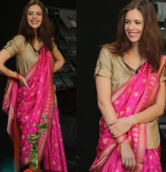 Vibrant drapes| Kalki Koechlin in a  varanasiweaves saree by  RituKumar  for a talk in Pune for the FICCI event | SHOP COLLECTION OF SAREES HERE : http://www.ritukumar.com/saris   Fashion  100sareepact  shopnw  womenswear  traditional 18 August 2016