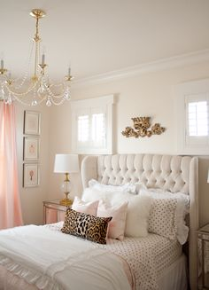 Pink and gold bedroom by Randi Garrett Design with gold polka dot sheets from PB Teen