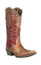 Ariat Women's Zealous Brown with Red Inlay Western Snip Toe Boots