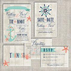 Beach Wedding Invitation Set Deposit Nautical Boho Anchor Rustic Invite Kit Personalized Printable Custom Diy Design 1