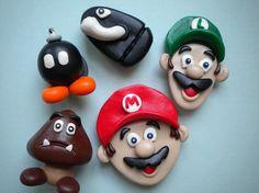 Mario Fridge Magnets, hand made polymer clay