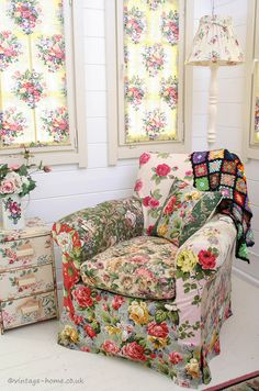English Country Cottage | Vintage Colour - Patchwork Armchair in the Garden Studio at Pottery Cottage. www.vintage-home.co.uk
