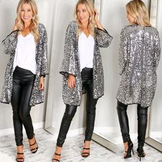 Sequin Kimono Silver, A futuristic take on the classic kimono! With an open front, this kimono cardigan is emblazoned with shiny silver sequins on all sides and is complete with black linework along the hems. Sequin Kimono, Sequin Outfit, Kimono Outfit, Cardigan Outfits, Kimono Fashion, Sequin Cardigan, Sequin Blazer, Sequin Jacket, Nye Outfits