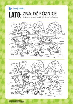 Lato: znajdź różnice i pokoloruj Worksheets, Origami, Diy And Crafts, Bullet Journal, How To Plan, Education, Learning, Kids, Speech Language Therapy