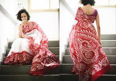 Batik Sarees - White and red batik by Suta - PC - 12416 - Main
