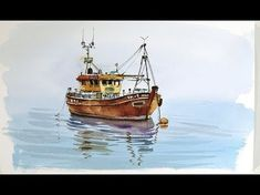 Pen and Wash Watercolor demonstration :Old Fishing boat - YouTube