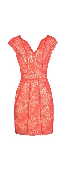May Flowers Lace Pencil Dress With Fabric Piping in Coral Pink Party Fashion, Cute Fashion, Pink Party Dresses, Summer Dresses, Pretty Dresses, Beautiful Dresses, Coral Pink, Pink Lily, Celebrity Dresses