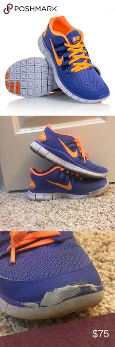 Nike Free 5.0 V2 Tennis Shoes Nike Free 5.0 in Blue/Orange/Black. I bought these many years ago and they didn't fit. There are scuffs on the toes of each shoe (shown in pictures) Size: 6.5. Synthetic-And-Mesh. Rubber sole. Textured mesh full inner sleeve