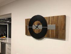 Quality quartz solid acacia timber wall clock, with elegant brushed aluminium trim.