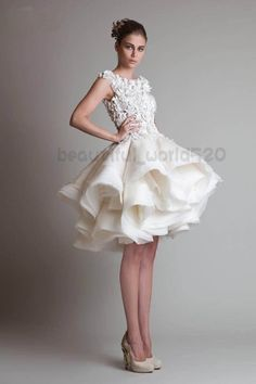 2014 Sexy Short Wedding Dresses Fashion Applique Layers Organza Bridal Gown