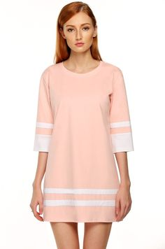 Red Round Neck 3/4 Sleeve Patchwork Straight Casual Dress