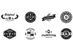 A collection of b&w logos; hardworking