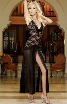 Sexy Black Lace Lingerie Gown