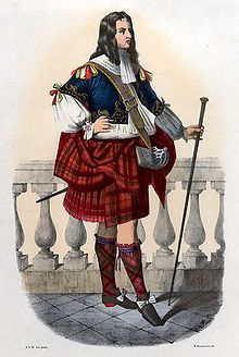 """Robertson"". A romanticised Victorian depiction of a member of the clan in a late 17th century dress by R. R. McIan, from The Clans of the Scottish Highlands, published in 1845."