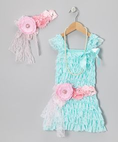 Take a look at this Aqua Lace Ruffle Dress Set - Infant, Toddler & Girls by Bebe Culture on #zulily today!