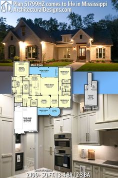 2,100  Sq Ft   3 - 4 Bedrooms   2 - 3 Full Baths with an optionally finished bonus room above the garage! Architectural Designs House Plans - Classic Brick Exterior Southern House Plan 51799HZ Comes to Life in Missouri! Click the link to see more build photos and details on this stunning country home plan!