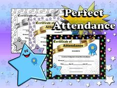 Perfect Attendance Certificates - Editable (Pre-K, Kindergarten, 1st Grade, 2nd Grade, 3rd Grade, 4th Grade, 5th Grade) Type in your students' names, school, date, etc. and print! These match my two Superstar Classroom Theme Kits (Purple Stars and Multi-colored Stars).  ** Now available in Black and White: Perfect for printing on colored paper! :)