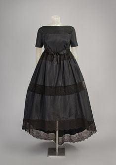 F/W 1958, America - Woman's Cocktail Dress by Gustave Tassell - Silk taffeta, cotton lace, silk satin