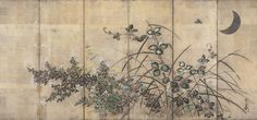 After Sakai Hoitsu (19th-20th century) Moon and autumn grasses Inscribed Hoitsu and bearing seal Hoitsu Six-panel screen; ink, color, gold, silver and silver leaf on paper