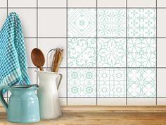 Fliesen verschönern | Motiv-Sticker Aufkleber Folie Badfliesen Küchen-Folie Küchengestaltung | 10x10 cm Muster Türkise Ornamente - 9 Stück