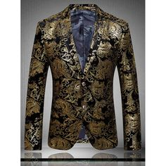 Golden Flower Print Lapel Long Sleeve Blazer For Men - GOLDEN L