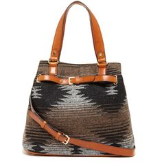 Sole Society Nina Tribal Medium Tote ($60) ❤ liked on Polyvore featuring bags, handbags, tote bags, grey tan, vegan tote bags, tote purses, faux leather tote bag, purse tote and tan tote bag