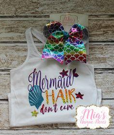 Mermaid Hair Don't Care,Girls mermaid shirt, toddler mermaid hair shirt, Beach shirt, little mermaid