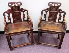 Pair Antique Chinese High Back Arm Chairs Circa 1800-1849
