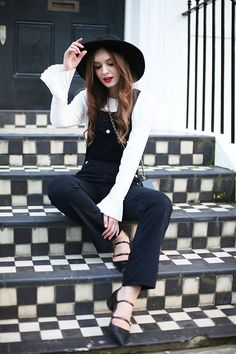 AC x AG Dungarees Dahlia Blouse What Olivia Did Hat: ASOS, Blouse: C/O DAHLIA, Bag: DAHLIA, Dungarees: AC for AG C/O TRILOGY, Shoes: Zara