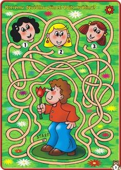 Spring Activities, Activities For Kids, 8 Martie, Maze Puzzles, Pre Writing, Activity Sheets, Luigi, Childhood, Fictional Characters