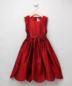 Take a look at this Red Embroidered Silk Dress - Infant, Toddler & Girls by Fantaisie Kids on #zulily today!